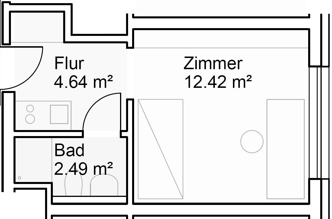 Beispiel: Grundrissplan von Zimmer-Nr. 2307; rollstuhlgerechte  Einzelappartements