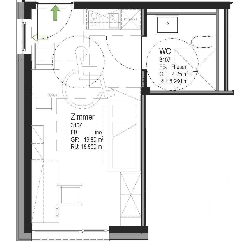 Beispiel: Grundrissplan von Zimmer-Nr. 3107 ...